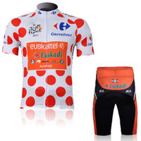 Wholesale Dot Jersey - Euskaltel-Euskadi Polka Dot Cycling Jersey Men Cycling Jersey Sets Men Riding Wear Bike Cycling Shorts Men Cycling Jerseys Cheap