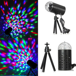 Wholesale Sound Activated Lamp - EU 220V 3W Full Color LED Crystal Voice-activated Rotating RGB Stage Light DJ Disco Lamp Free Shipping