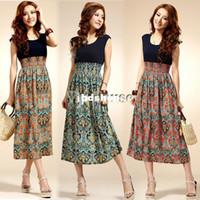 Wholesale Lady Chiffon Dress High Waist - Wholesale-New Womens Lady Cotton + Chiffon Vintage Sleeveless Bohemian High waist Long Dress 5681
