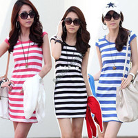 Wholesale Hot Pink Stripe Dress - Wholesale-Hot Sale!! 2014 New Casual Dress Stripe sleeveless Summer Dress,Women Dress,Fashion Women Sexy mini Dress B8 SV002083
