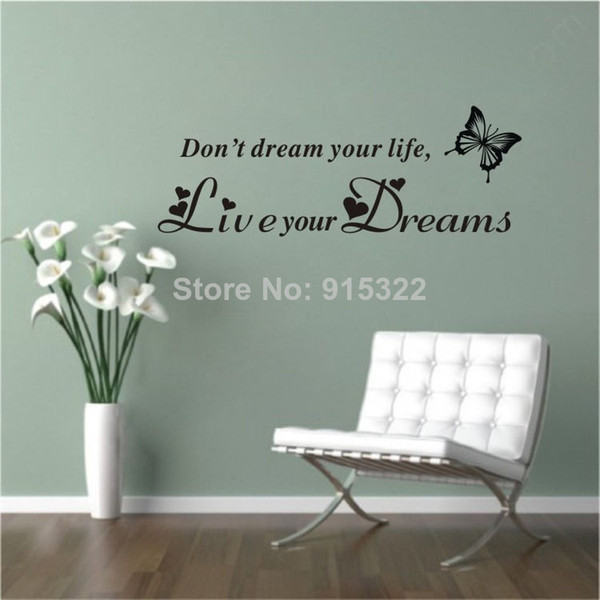 DONT DREAM YOUR LIFE LIVE YOUR DREAMS WALL QUOTE DECAL VINYL WORDS STICKER Home & Kitchen Home & Garden Store