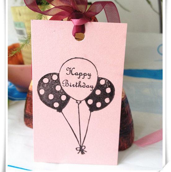 Mini Birthday Greeting Card With Silk Ribbon Hang Strap Diy Happy