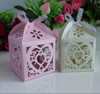Wholesale Sweet Love Favour Box - 550pcs Laser Cut LOVE Hollow Out Wedding Favour Party Gift Candy Sweets Box with Ribbons