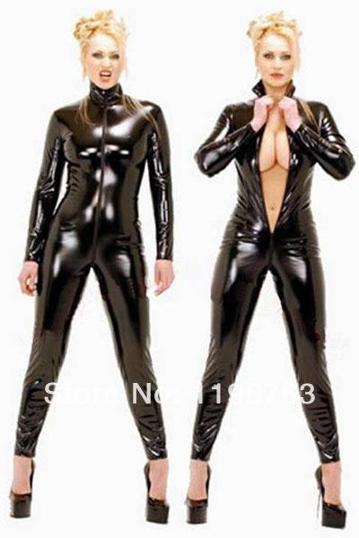 sexy faux leather bodysuits pullover woman jumpsuit catsuit zipper front lingerie catwoman halloween costume ideas lb1006 s 2xl costumes accessories cheap