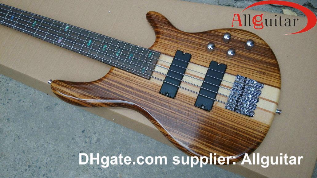5 Struny Bass Natural One Piece Body Bass Active Pickups China Electric Bass Gitara