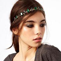 Wholesale Tungsten Diamond Bands - Fashion Bohemian Women Metal Head Chain With Emerald Jewelry Forehead Dance Shiny Diamond Headband Piece Wedding Hair Band