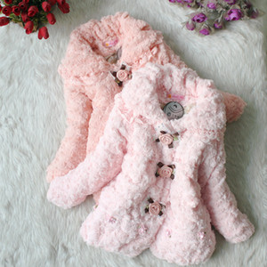 Wholesale Girls Rose Winter Coat for Christmas Dress Cute Girl Flower Outerwear for Winter Long Sleeve Children Thick Coat Children Outwear GDW001