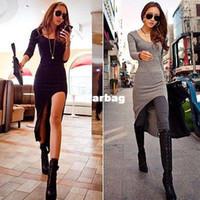 Wholesale Slim Irregular Hem Dress - Wholesale-New Women 100% cotton Sexy Slim Split Irregular Clubwear Asymmetric Hem Long Dress