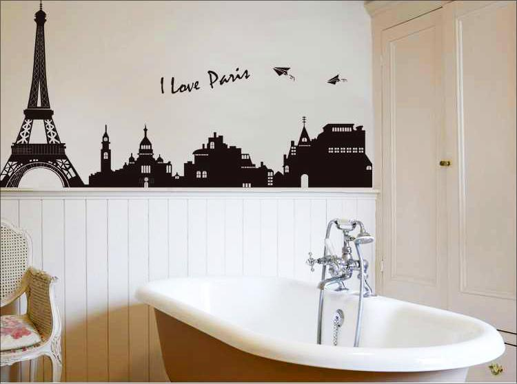 Pvc Large Paris Eiffel Tower Decorative Wall Decals Home