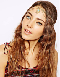 2019 cadeia do cabelo da forma Fashion Bohemian Women Metal Head Chain com jóias de turquesa Forehead Dance Shiny Diamond Headband Piece Wedding Hair Band desconto cadeia do cabelo da forma