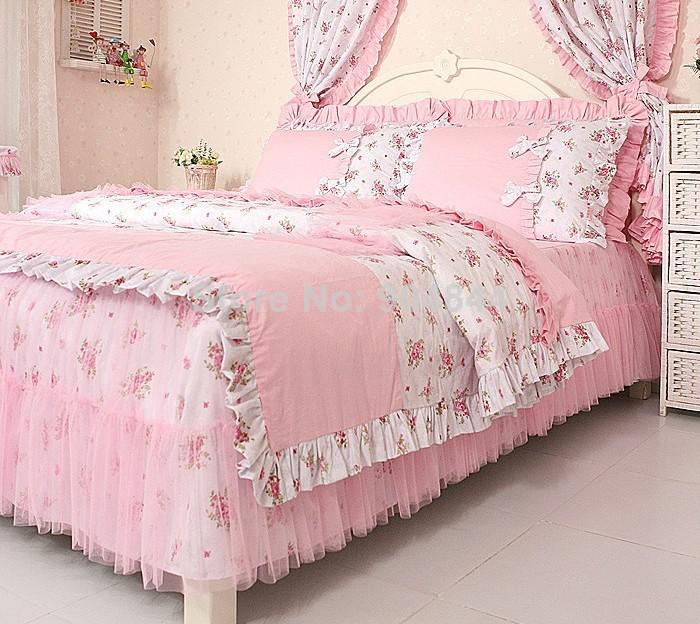 Pink rural princess lace ruffle floral bedding sets kids soft bow pink rural princess lace ruffle floral bedding sets kids soft bow duvet cover settwin queen king bedding sets online comforter king from lucychen587 mightylinksfo
