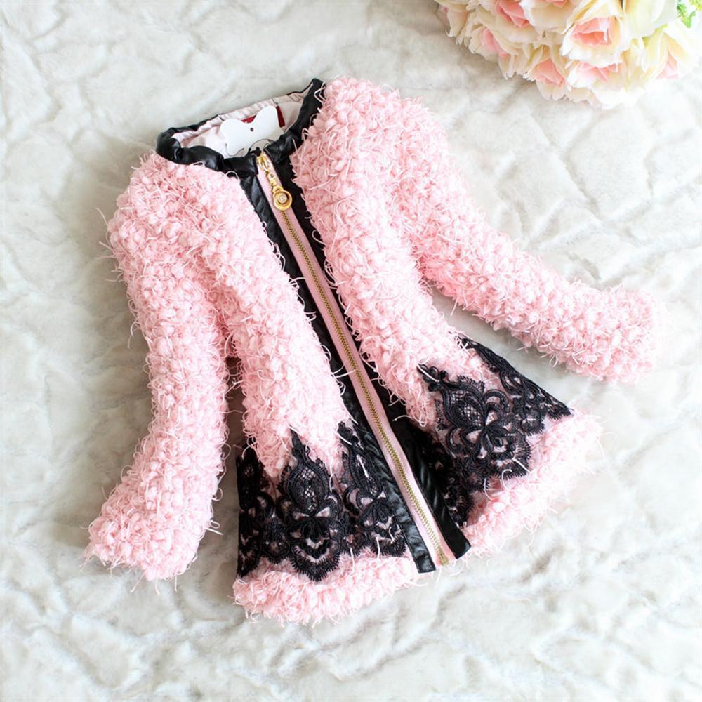 Girls Wool Winter Coats Han Edition Lace Dresses Kids Autumn ...