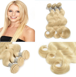 Wholesale blonde weft remy hair extensions - Wholesale Blonde Brazilian Virgin Hair Extension 3pcs lot 100% Remy Human Hair Top Qulaity 613 blonde human hair extension