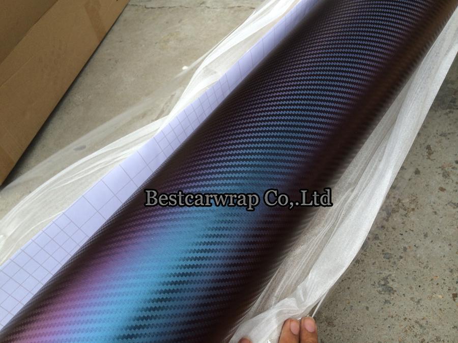 الأزرق إلى الأرجواني 3d الحرباء ألياف الكربون الفينيل سيارة التفاف السينمائي مع فقاعة مجانا ل ملصقات السيارات فيديكس شحن مجاني الحجم: 1.52 * 30 متر / لفة