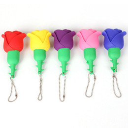 Wholesale Card Usb Pen Drive - Rose flower Pendrives Beautiful Artificial flower usb flash drive 16GB 8GB 4GB 2GB Pen Drive Thumbdrive Memory Card Stick Gift