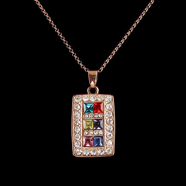 New Costume Jewelry 18k Rose Gold Plated Rectangle Multicolour