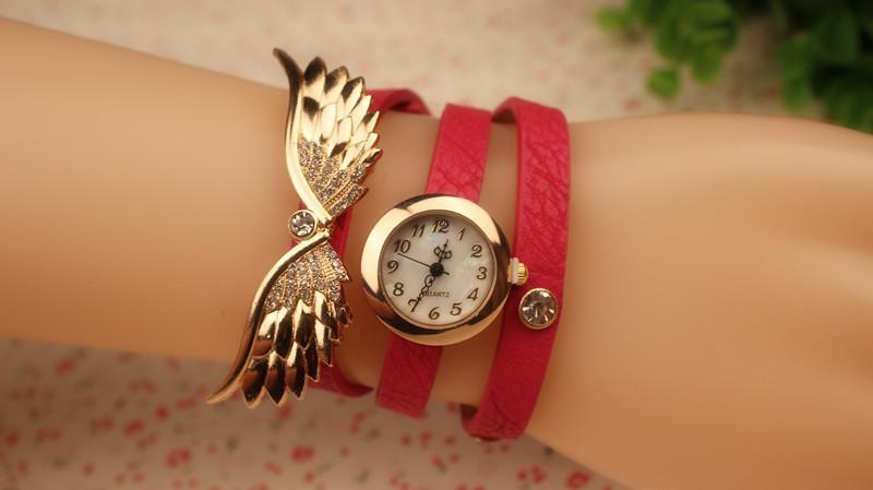 Spitzenart- und weisearmband-Frauen-Uhr-Handgelenk-Quarzuhr-Leder-Verpackungs-Flügel bezaubert Mischungs-Farben-Tropfen-freies Verschiffen