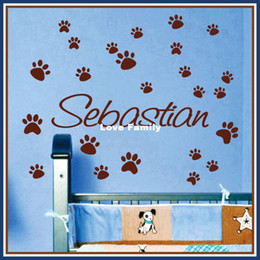 Wholesale Dog Vinyl Wall Decals - Name PAW PRINTS Dog Cat Vinyl Wall Decal Sticker