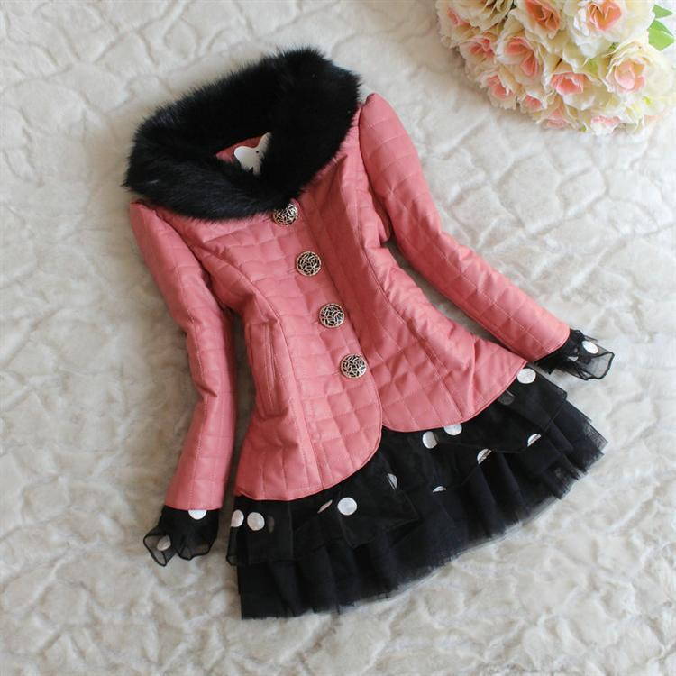 Girls Fur Coat Fashion Collars Kids Winter Dresses Children Grid