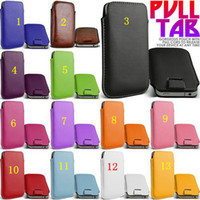 Wholesale Galaxy Tab Plus Leather - Universal Pull Tab Leather Case Pouch For iPhone 4 5 6 Plus Samsung Galaxy S3 S4 Mini S5 Note 2 3 S7562 HTC ONE M7 M8 Sony Xperia Z1 Z2