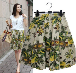 Wholesale ladies floral knee length skirts - New National Floral-print Tea midi skirt summer lady casual linen knee length skirt