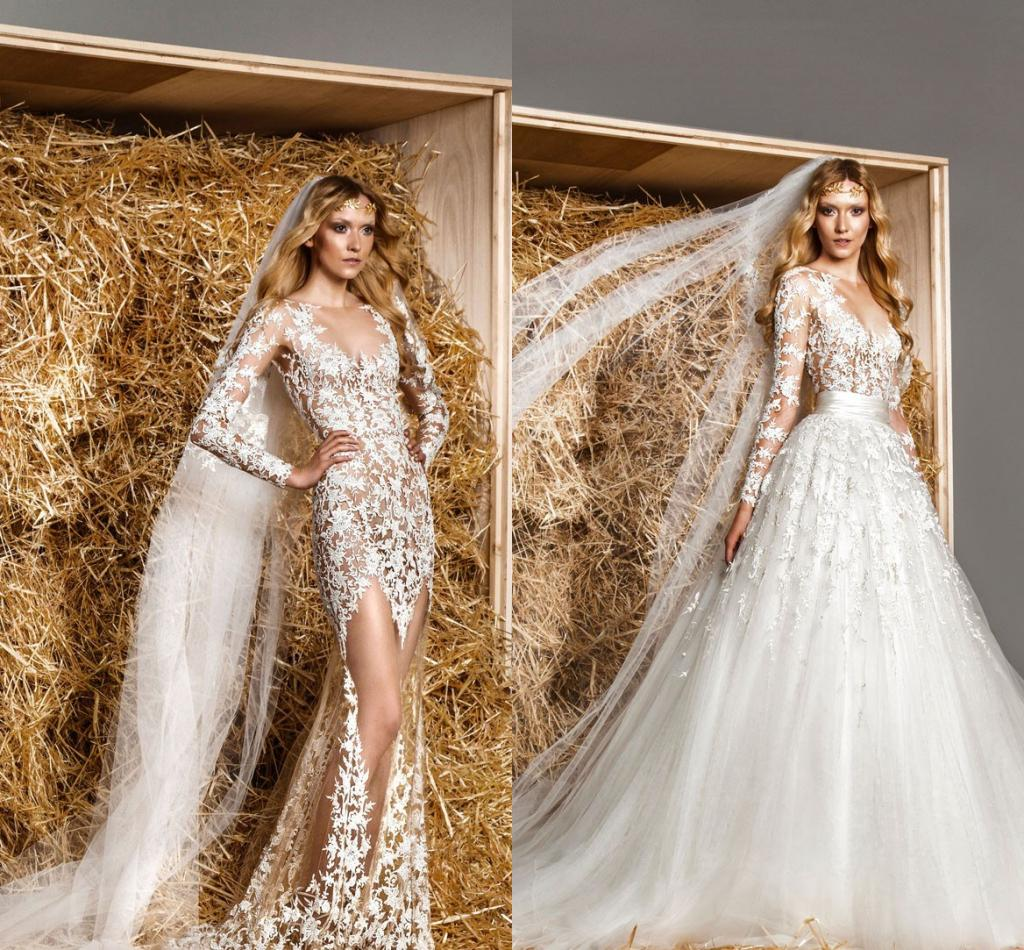 Discount Modest Zuhair Murad Bridal Gowns Removable Train A Line Long Sleeves Lace See Through Tulle Sexy Luxury Sheer Wedding Dresses