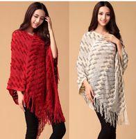 Wholesale Ladies Wool Blend Wrap Shawl - Fashion knit ponchos Leisure Cardigan Knitting Coat lady Batwing Cape Poncho shawl wraps Cardigan Sweater #3608