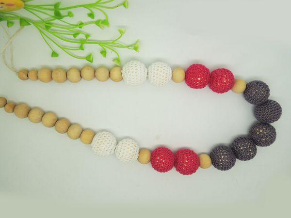 2014 Chunky Teething ring Nursing Necklace wooden Crochet beads fushia grey baby Teething Toy NW1487