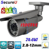 Wholesale Cctv Ir Lens - Free shipping 1200TVL ir night vision vari focal zoom lens bullet outdoor use waterproof cctv camera home business security cctv equipment