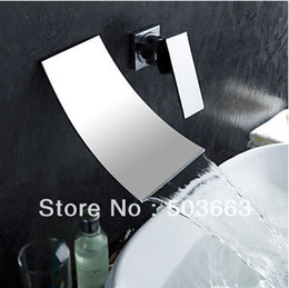 Wholesale Bath Wall Mixer Tap - contemporary shower wall mount waterfall faucet bath faucet basin sink faucet mixer vessel tap vanity sets L-0176