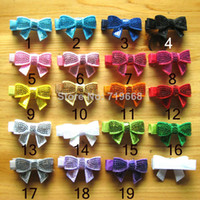 "Wholesale Embroideried Sequin Bows - 2014 NEW ARRIVAL 85pcs lot 19colors 1.8"" Embroideried sequin bow with hair clip Girls\' hair accessories hair pins hair ornaments"