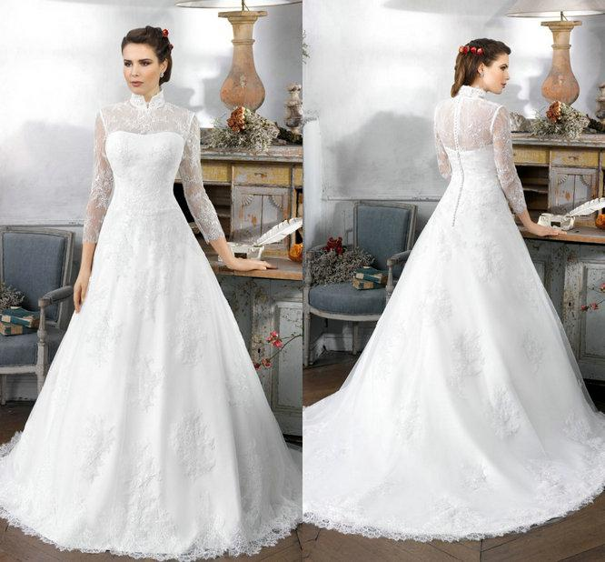 2016 Vintage Lace Tulle Ball Gown Wedding Dresses High Neck High ...