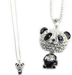 Wholesale Rhinestone Panda Earring - Fashion Shiny EXCLUSIVE PANDA necklace!!shiny rhinestone super charming panda necklace chain Cute pendant!! ZZS62