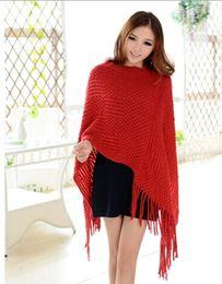 Wholesale Ladies Sweater Shawls - 2015 knit ponchos Leisure Cardigan Knitting Coat lady Batwing Cape Poncho shawl wraps Cardigan Sweater #3611