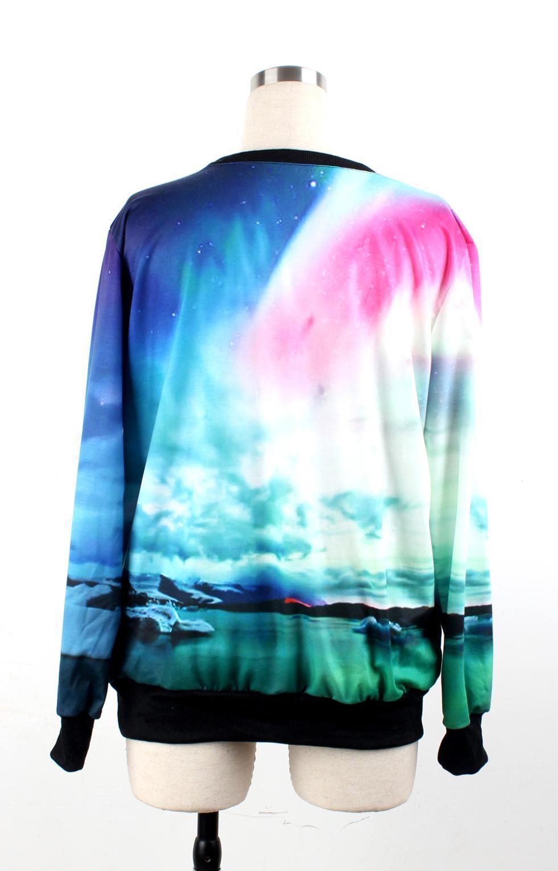 Ny 2013 Fashion Pullover Funny Mountain Scenery Print Galaxy Hoodie För Kvinnor / Män Långärmad 3D Sweatshirt Gratis Storlek S
