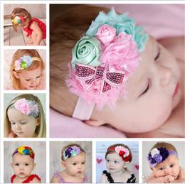 accessori per capelli rosa Sconti I nuovi bambini europei e americani nastro rosebuds stretch accessori per capelli arco fascia di paillettes