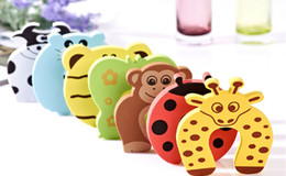 Barato Fechadura Para Criança-New Care Child kids Baby Animal Cartoon Jammers Parar Porta bloqueio porta-bloqueio Safety Guard Finger 7 estilos