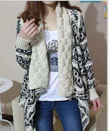 2015 winter trend jacquard knit stole Cardigan Knitting Coat lady coat Cape Poncho shawl wraps Sweater #3613