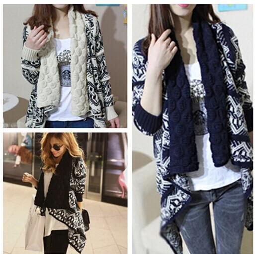 2015 inverno tendenza jacquard knit stolando cardigan cappotto da maglieria cappotto signora cappotto poncho scialle wraps maglione # 3613