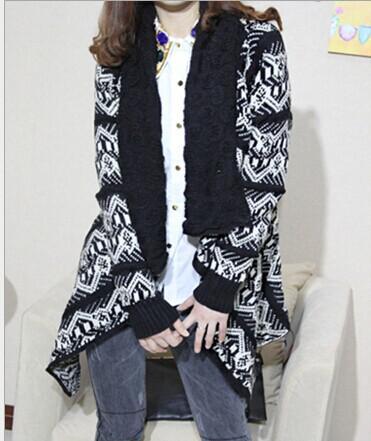 2015 الشتاء الاتجاه الجاكار متماسكة سرق سترة الحياكة معطف سيدة معطف كيب بونشو شال يلتف سترة # 3613
