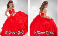 rote ritzee festzug kleider großhandel-Halfter Perlen Kristalle Red Girls Pageant Kleider 2019 Tiered Rüschen Blumenmädchen Kleid Strass Ballkleid Ritzee Girls Holy Party Kleider
