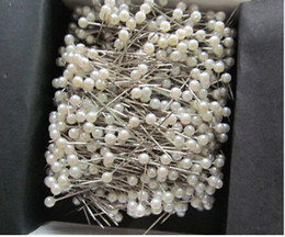 """Wholesale Crafting Pearls - 700pcs 1 1 2"""" White Round 3mm Pearl Head Pins Corsage or Crafts"""
