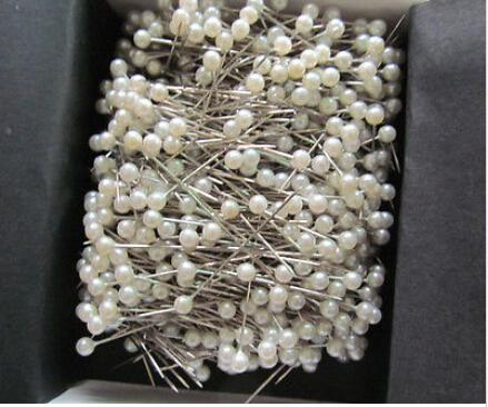 "best selling 700pcs 1 1 2"" White Round 3mm Pearl Head Pins Corsage or Crafts"