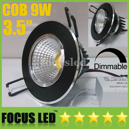 Wholesale Led Downlights Black - Super Bright-3.5 inch COB 9W 900LM LED Downlights Tiltable Black Fixture Recessed Ceiling Down Lights Warm Cool Natural White Dimmable Non