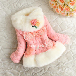 Wholesale Kids Fur Coats For Wholesale - Girls Winter Clothing Fur Collar Three-dimensional Flowers Jacket Kids Winter Outwear Girls Princess Dresses for Party Dress GDW037
