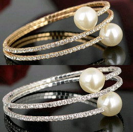 Wholesale Pearl Crystal Bangle Bracelet - 12pcs Diamante Rhinestone 3Row Crystal Pearl Spiral Wedding Bridal Arm Bracelet Bangle For Women Jewelry Free [JB06105*12]