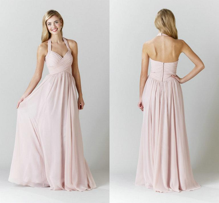 Halter Strap Blush Pink Chiffon Bridesmaid Dresses Cheap Under 100 ...