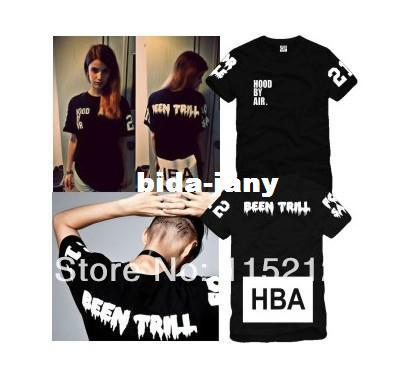 Wholesale-Free Shipping Hood By Air HBA X Been Trill Kanye West Short-sleeved t-shirt Men's / women's HBA fashion lovers t-shirts
