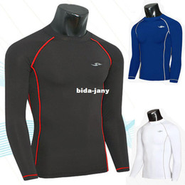 sports t shirts wholesale Coupons - Wholesale-2014 Many Lines Designer Mens Sport Compression Under Base Layer Top Tight Long Sleeve T-Shirts Collection
