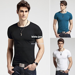 Wholesale Gentle Blue - Wholesale-2014 New Men's Gentle Slim Fit O-Neck Short Sleeve Bottoming Cotton Casual T-Shirt b6 SV001207
